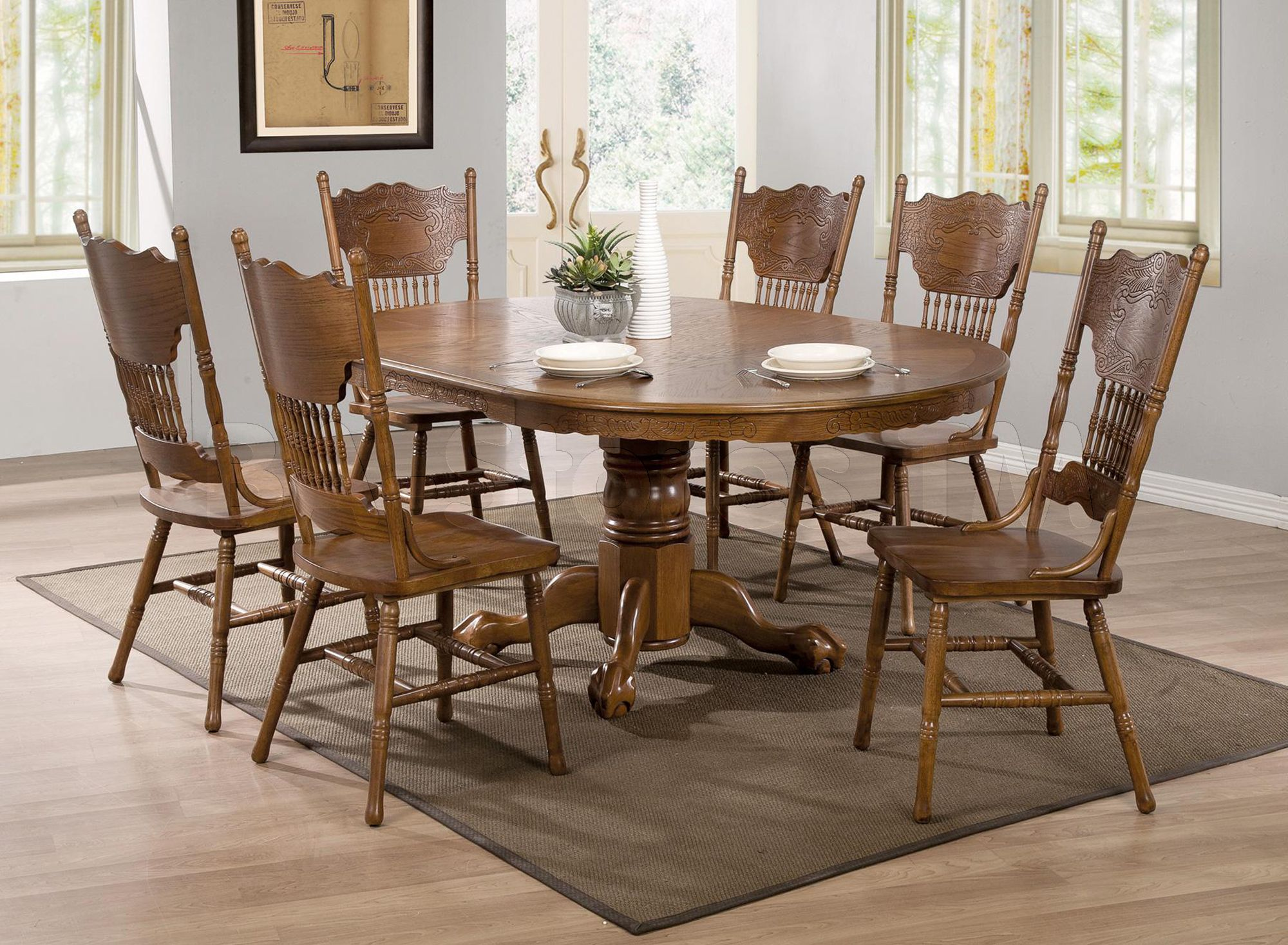 """Traditional Oak Dining Set Oval 24"""" Extensions Leaf Dining Table"""