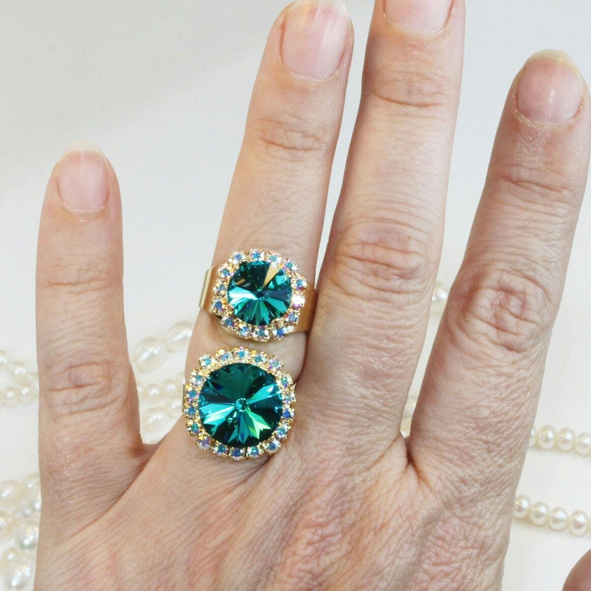 Teal Crystal Ring Peacock Green Swarovski Cocktail Bridal