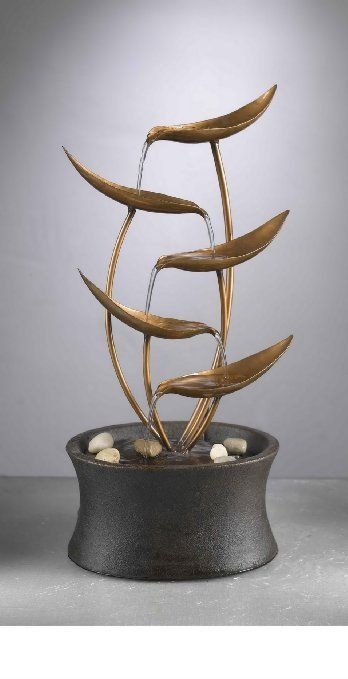 Attractive Metal Leaf Table Fountain Powered By Any Standard 110v