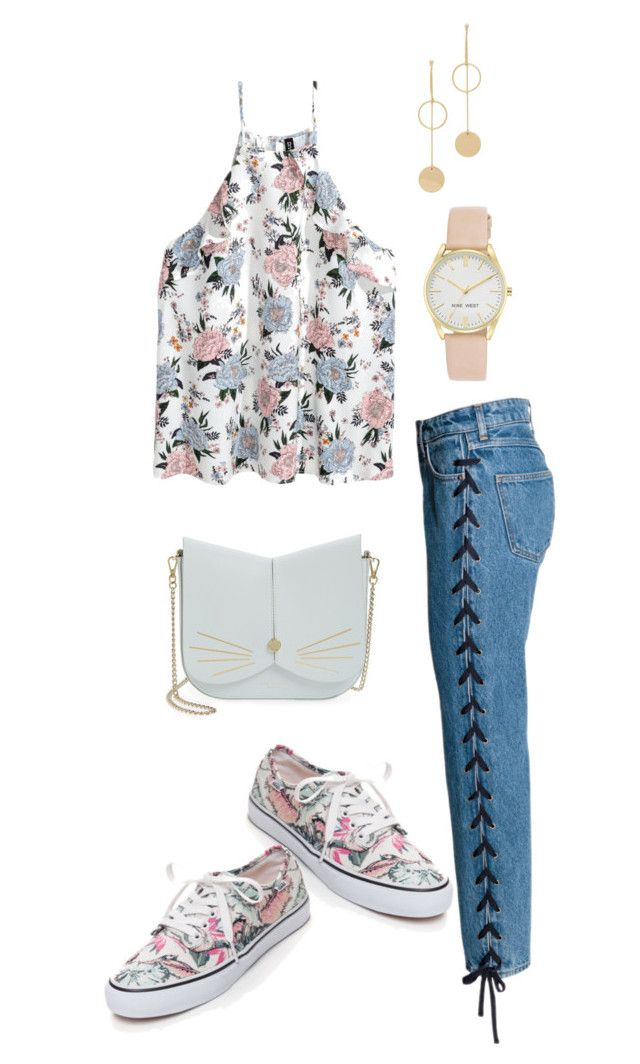 """Untitled #48"" by chloejacquise ❤ liked on Polyvore featuring Vans, Ted Baker, Cloverpost and Nine West"