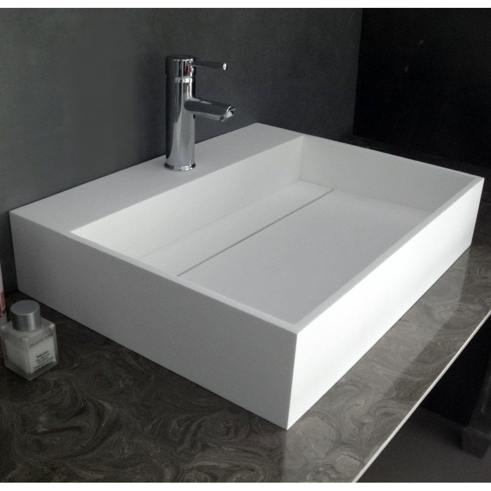 Duvalli Ethos Stone Resin Square Counter Top Basin Sink With Infinity Waste  System 1013