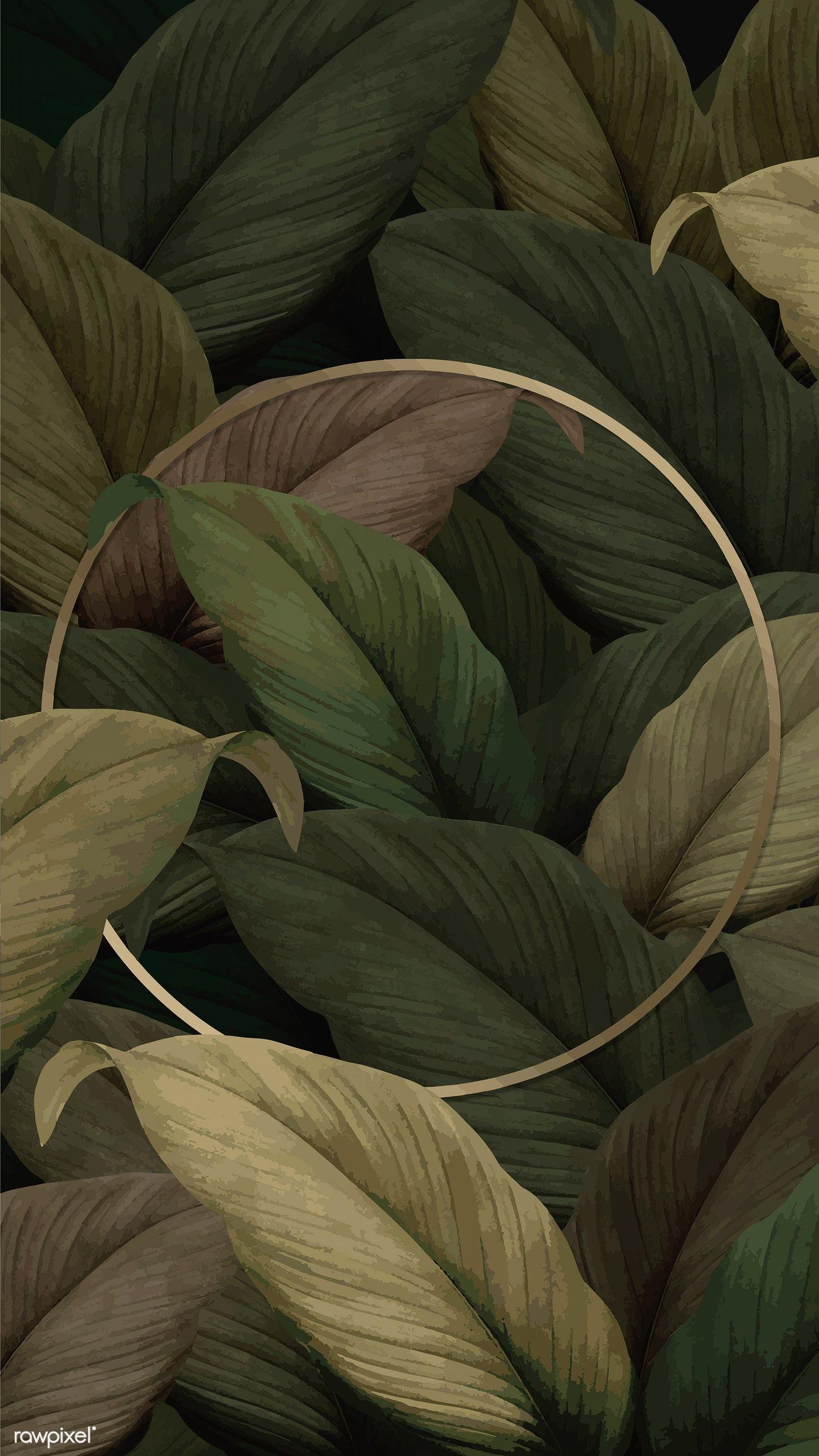 Download Premium Vector Of Gold Round Frame On Tropical Leaves Background Leaf Background Framed Wallpaper Plant Wallpaper