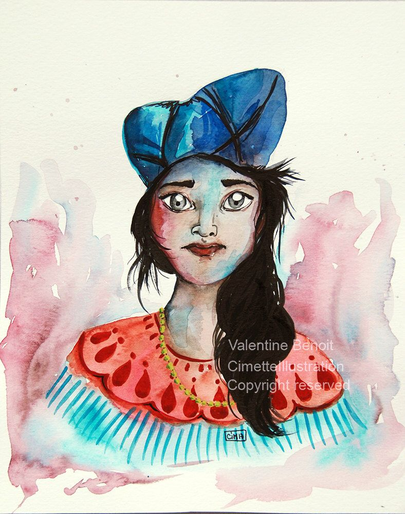 Original Watercolor Of An Indian Woman With A Turquoise Blue Cap