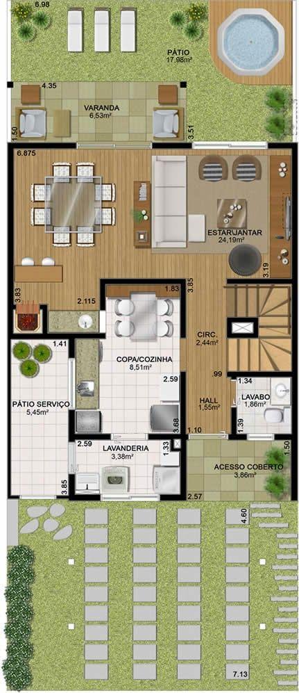 Planta de casa sobrado de 250 m2 planta criativa casa for Casa moderna de 50 m2
