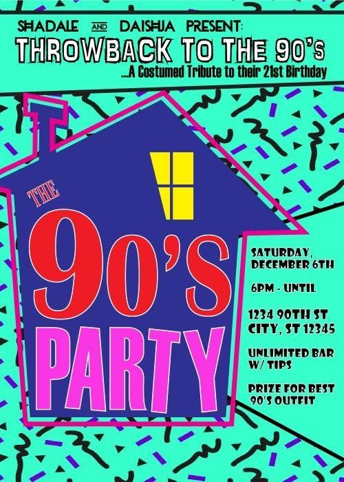 90 S Theme House Party Digital Birthday Invitation Creativeblueprints Children