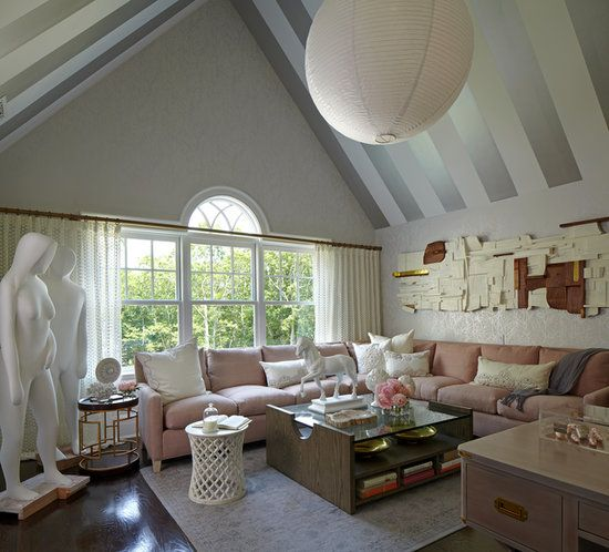 Youre Invited to the Hamptons! Tour the 2013 Designer Showhouse: Metallic stripes play up the dramatic A-frame of this front bedroom by Baltimore Design Group.