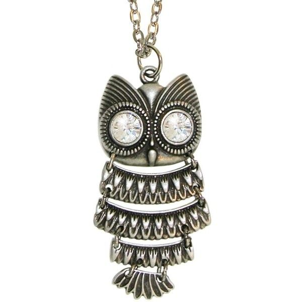 Amazon.com: Nickel Free Articulated Owl Necklace with Big Swarovski... (€11) ❤ liked on Polyvore featuring jewelry, necklaces, silver owl jewelry, silver jewelry, silver rhinestone necklace, silver owl necklace and pendant necklace