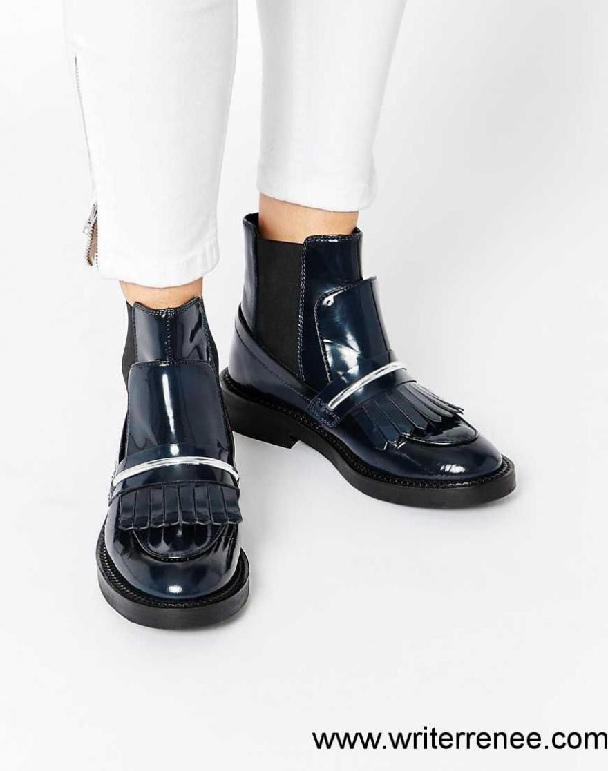 fd942cbaf1eb RXMU1001658 US Shoes   Women - ASOS ANGELIC TOUCH Chelsea Leather Ankle  Boots - Navy