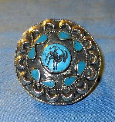 Ring Turquoise Two Fingers Animal Design Afghan Kuchi Tribal Alpaca Silver Sz 9