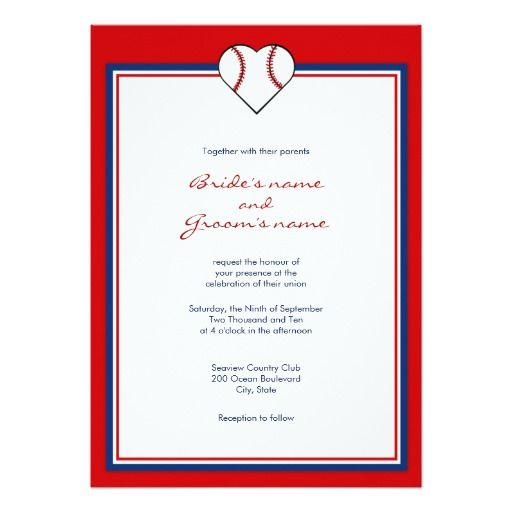 "Custom basball theme wedding invitations, with a heart shaped baseball, and a red and blue border.  Get matching <b>RSVP cards, accommodation cards, and postage</b> shown below: <a href=""http://www.zazzle.com/baseball_love_stamps_postage-172073957637925264?rf=238855604476333063""><img src=""http://rlv.zcache.com/baseball_love_stamps_postage-p172073957637925264852dt_250.jpg"" alt=""Baseball Love stamps stamp"" style=""border:0;"" /></a><br /><a href=""http://www.zazzle.com/baseball_love_stamps_postag..."