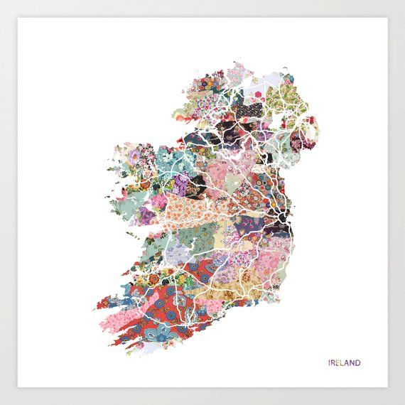 Map Of Ireland Print.Ireland Map Print Ireland Painting Map Of Ireland Painting Of