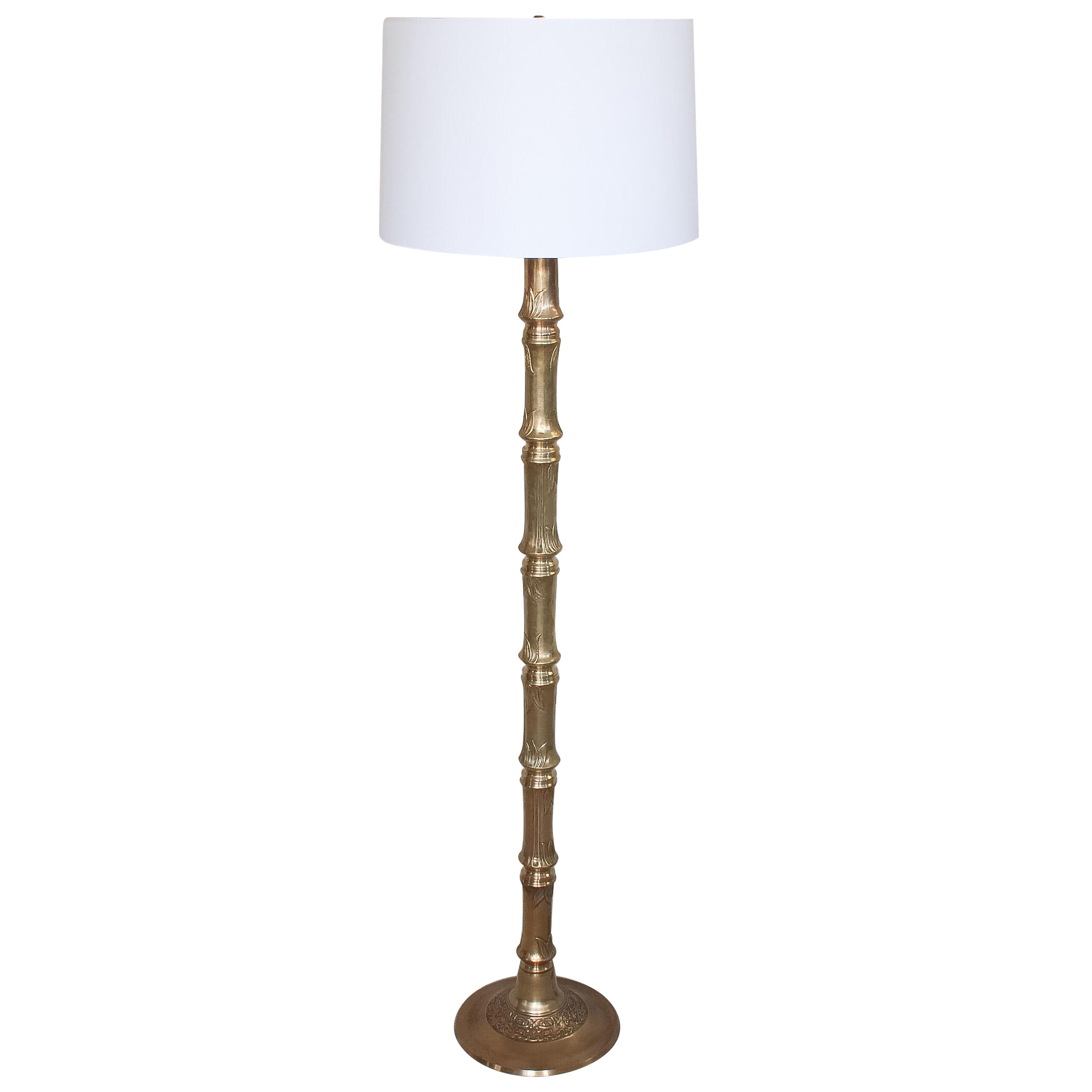 Hollywood Regency Brass Faux Bamboo Floor Lamp Chairish