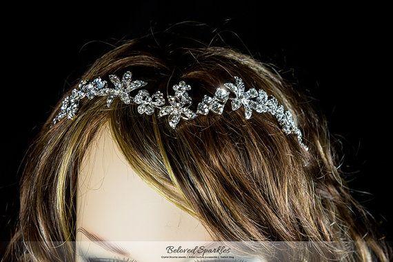 Bridal Headband Swarovski Crystal Flower by BelovedSparkles