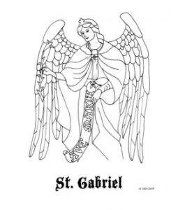 St Gabriel Catholic Coloring Page With Images Saint Gabriel