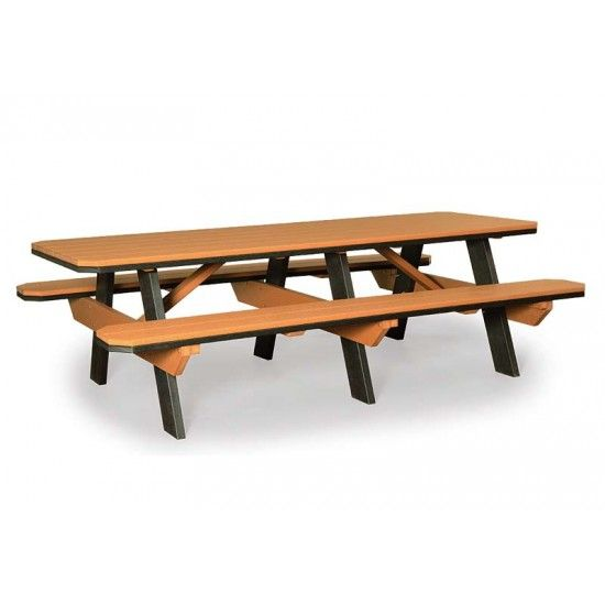 Amish 3x8 Polywood Picnic Table With Benches Cedar On Black