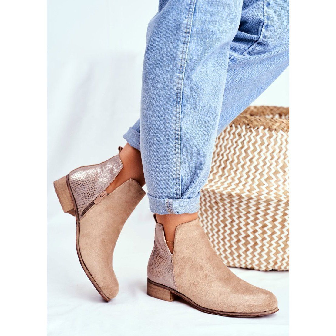 Eve Botki Damskie Plaski Obcas Wiosenne Khaki Viva Bezowy Ankle Boot Shoes Boots