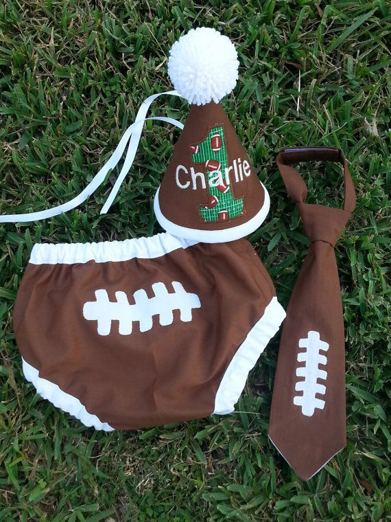 Baby Boy Smash The Cake Football 1st Birthday Outfit By SMPstore