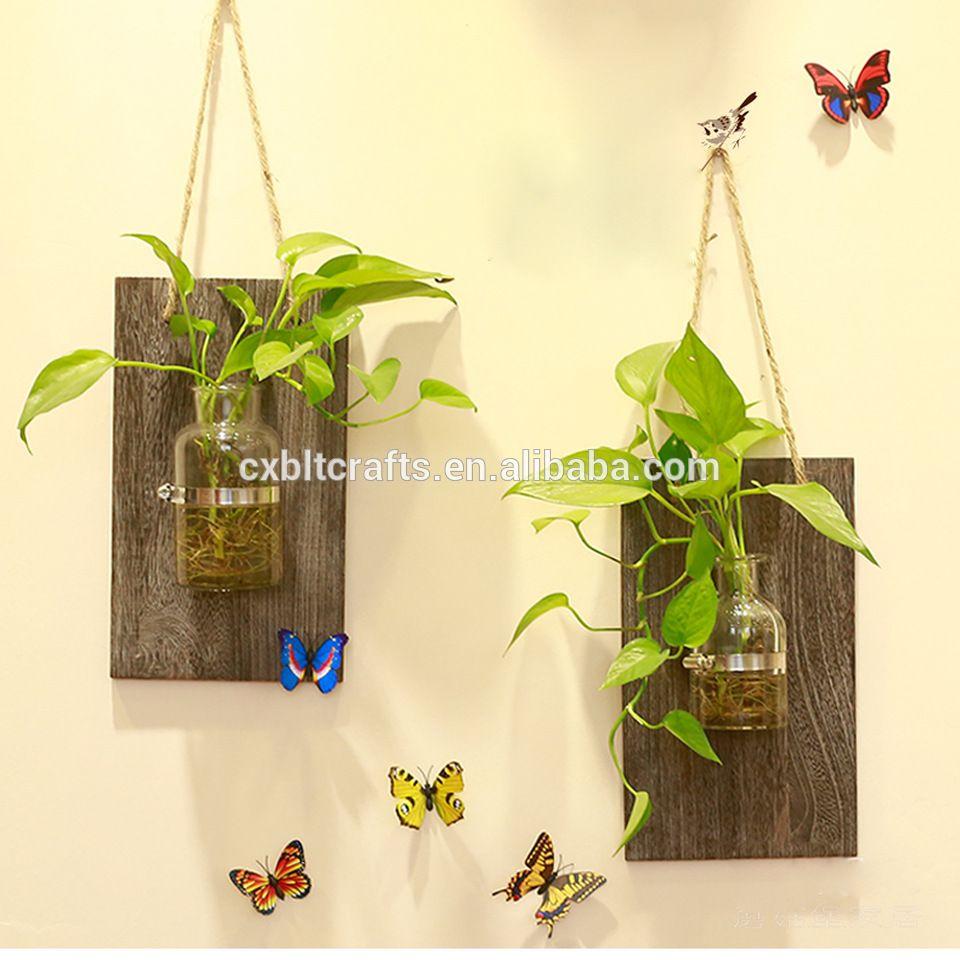 wall hanging decorative indoor wooden planters,Hydroponics Planter ...