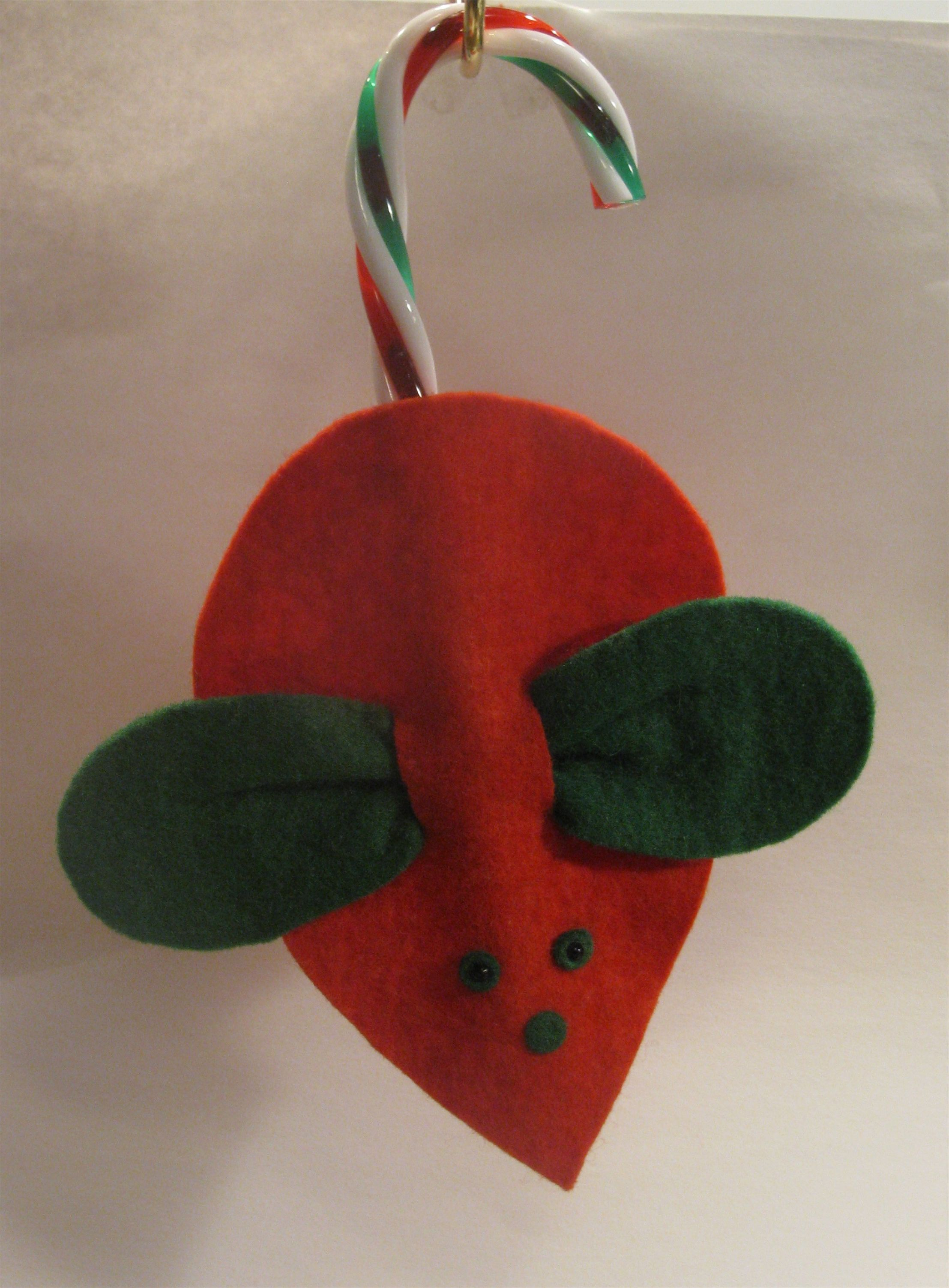 Classic Felt Mouse With Candy Cane Tail