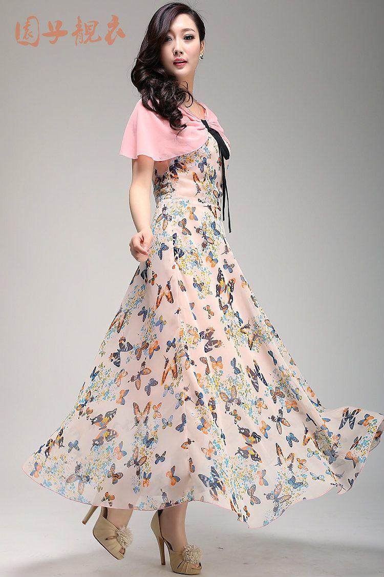 2014 women chiffon faux two piece one piece dress butterfly