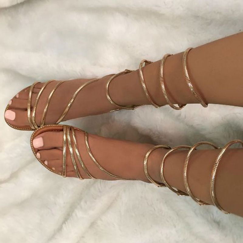 b088a2dc8917 Shoespie Golden Strappy Wrap Up Gladiator Sandals