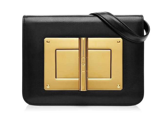 Black Leather With Golden Details Medium #Bag by Tom Ford