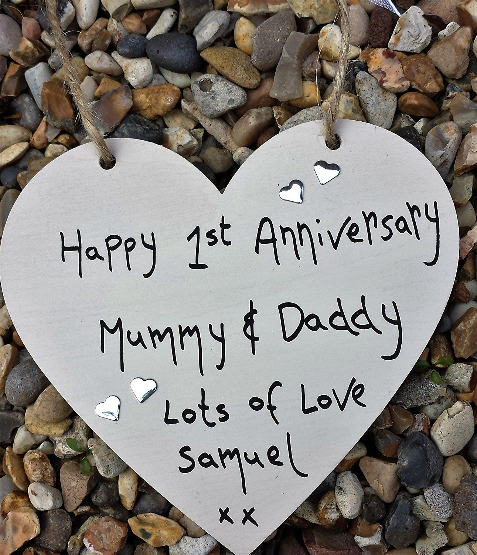 HAPPY 1ST WEDDING ANNIVERSARY PERSONALISED HEART MUMMY and