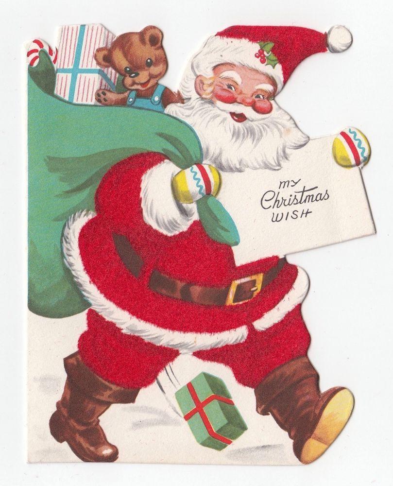 Vintage Greeting Card Christmas Santa Claus Bag Of Toys Whitman