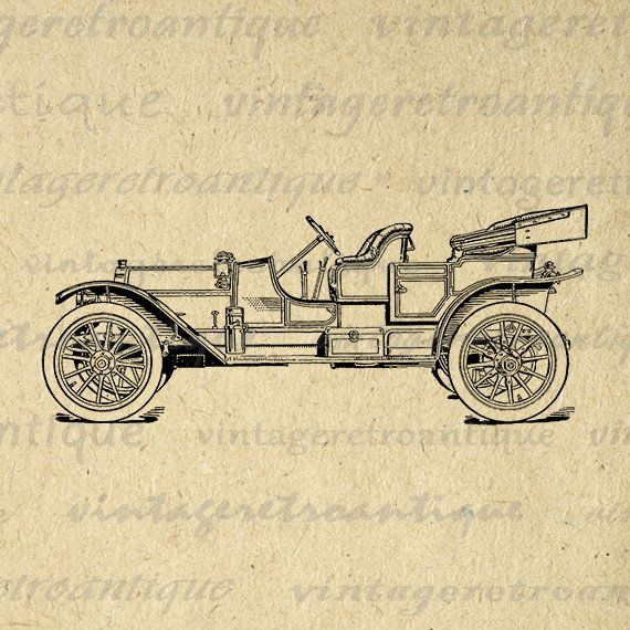 Printable Old Fashioned Car Graphic Digital Antique Automobile   All ...