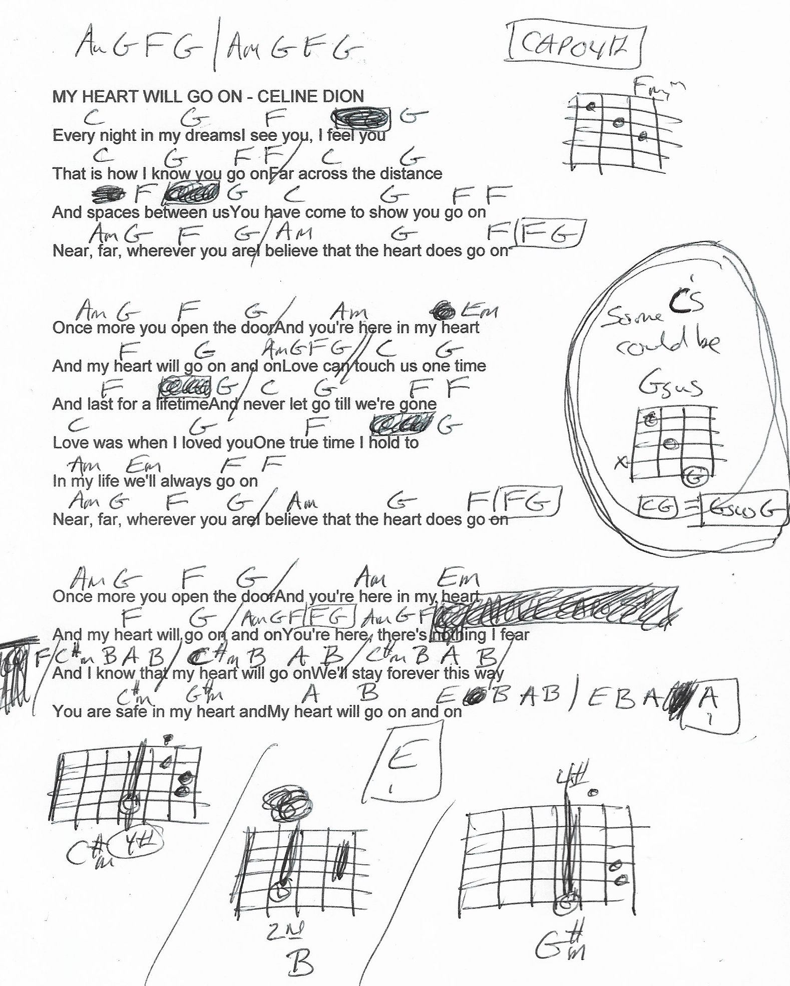 My Heart Will Go On Celine Dion Guitar Chord Chart Capo 4th Slightly Simplified Guitar Chord Chart Celine Dion Guitar Chords