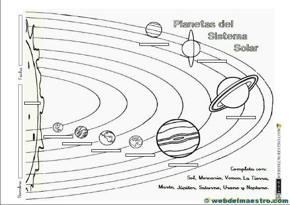 fichas para trabajar el sistema solar con ni u00f1os de primaria