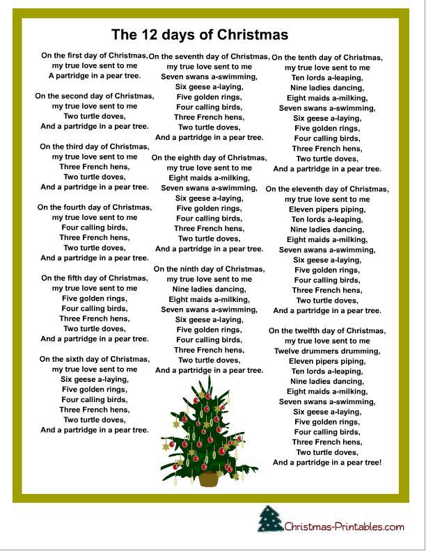 12 Days Of Christmas Lyrics! Christmas carols lyrics