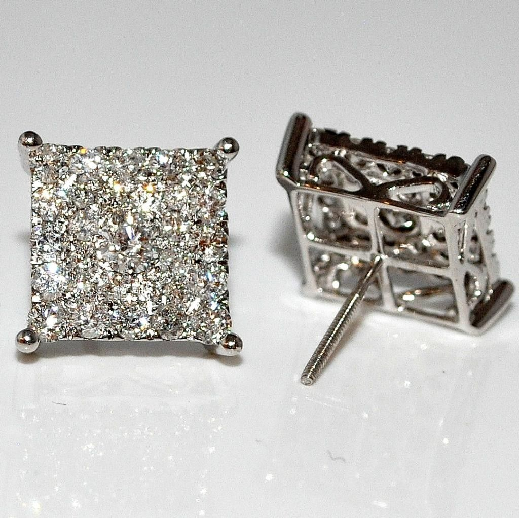 Men's Diamond Stud Earrings Xl Big Square Round Dia Screw Back