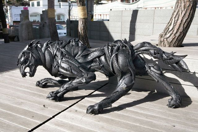 Korean artist Yong Ho Ji recycles old tires and turns them into incredible works of art. From animals to humans and even animal/human hybrids these tire sculptures are truly amazing.