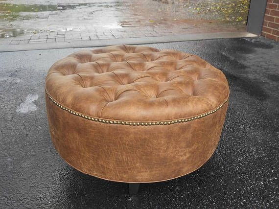 Distressed Vegan Leather Tufted Upholstered Ottoman Etsy Leather Ottoman Coffee Table Leather Coffee Table Upholstered Ottoman