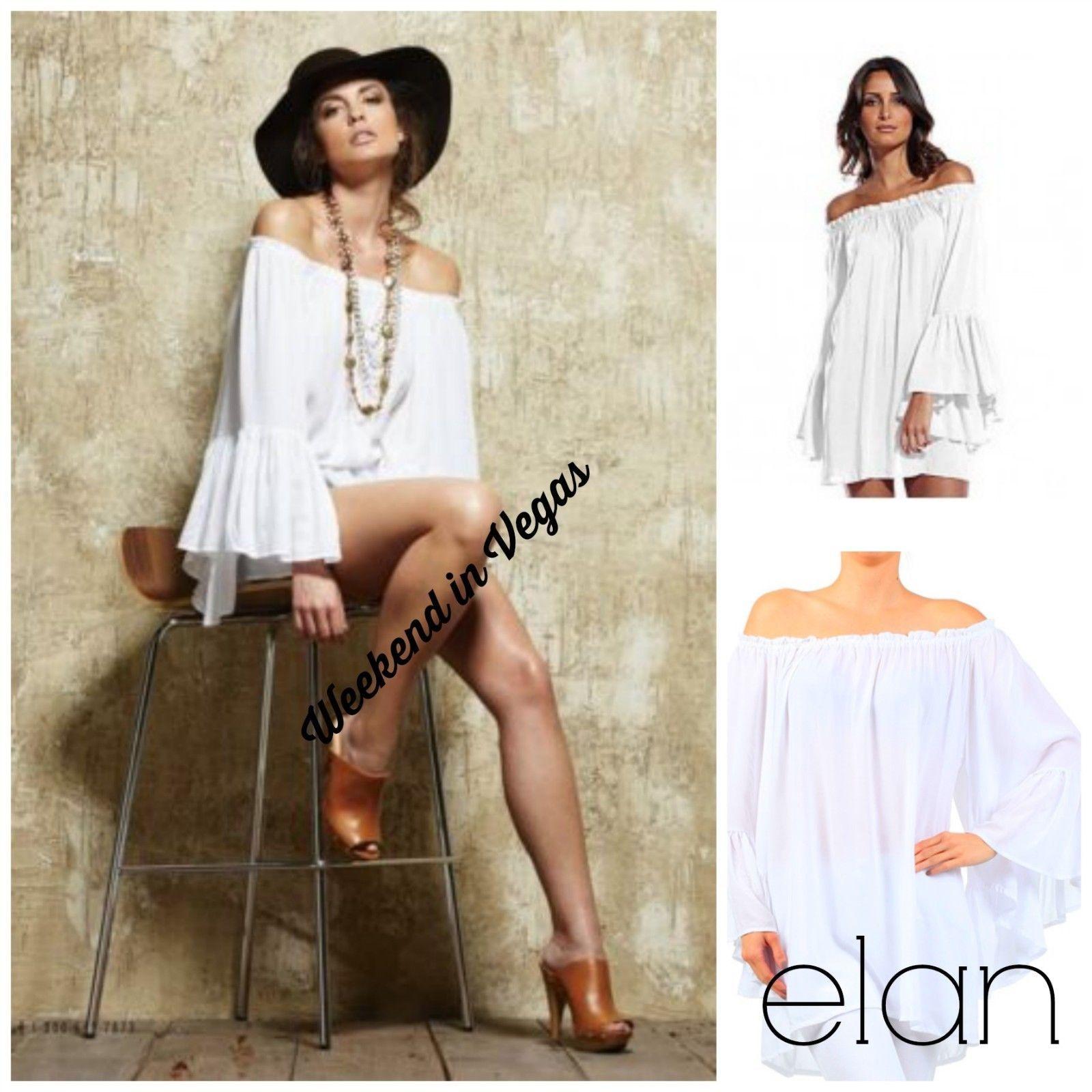 Elan ruffle sleeve off shoulder sexy mini dress or tunic white ry