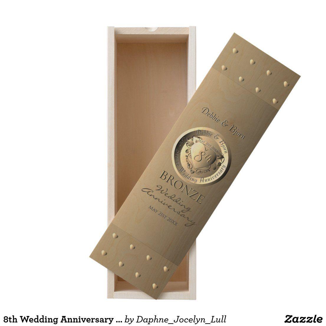 8th wedding anniversary bronze heart medallion wooden