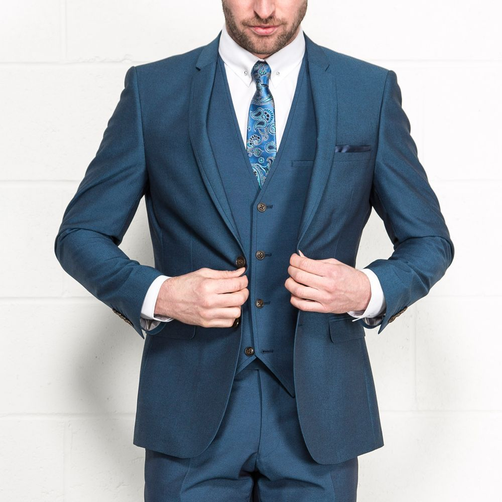 ONESIX5IVE Teal Slim Fit Three Piece Suit - Wedding Suits - Mens ...