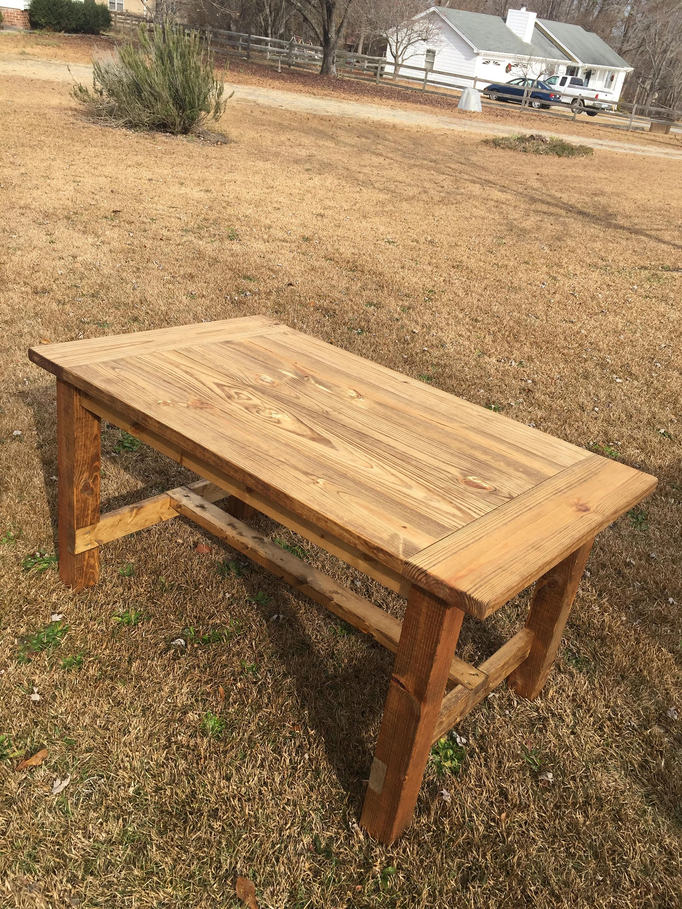 Custom Farmhouse Dining Table W Breadboard Ends  Rustic