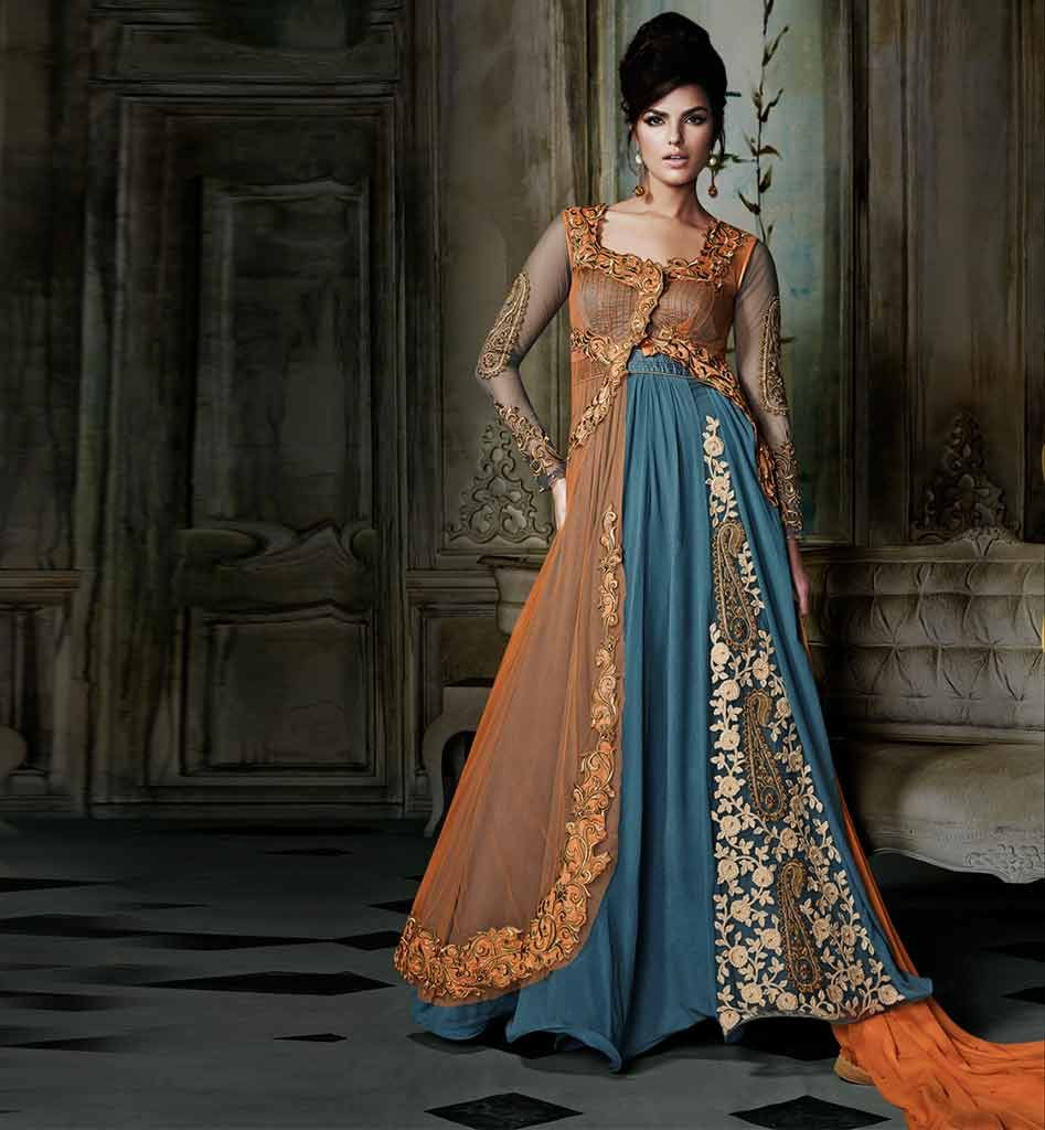 Floor length gown style anarkali with jacket anaur8011 for Floor length suits