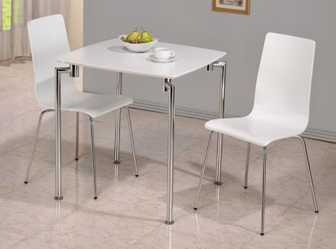 Rigma Small Square Dining Kitchen Table With Two Chairs White Gloss Finish