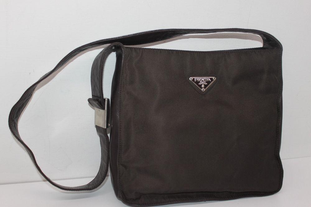 efc9510a965c Authentic PRADA Brown Leather / Nylon Shoulder Bag@ebay @pinterest  #carrying #sale #louisvatton #wearsprada #product