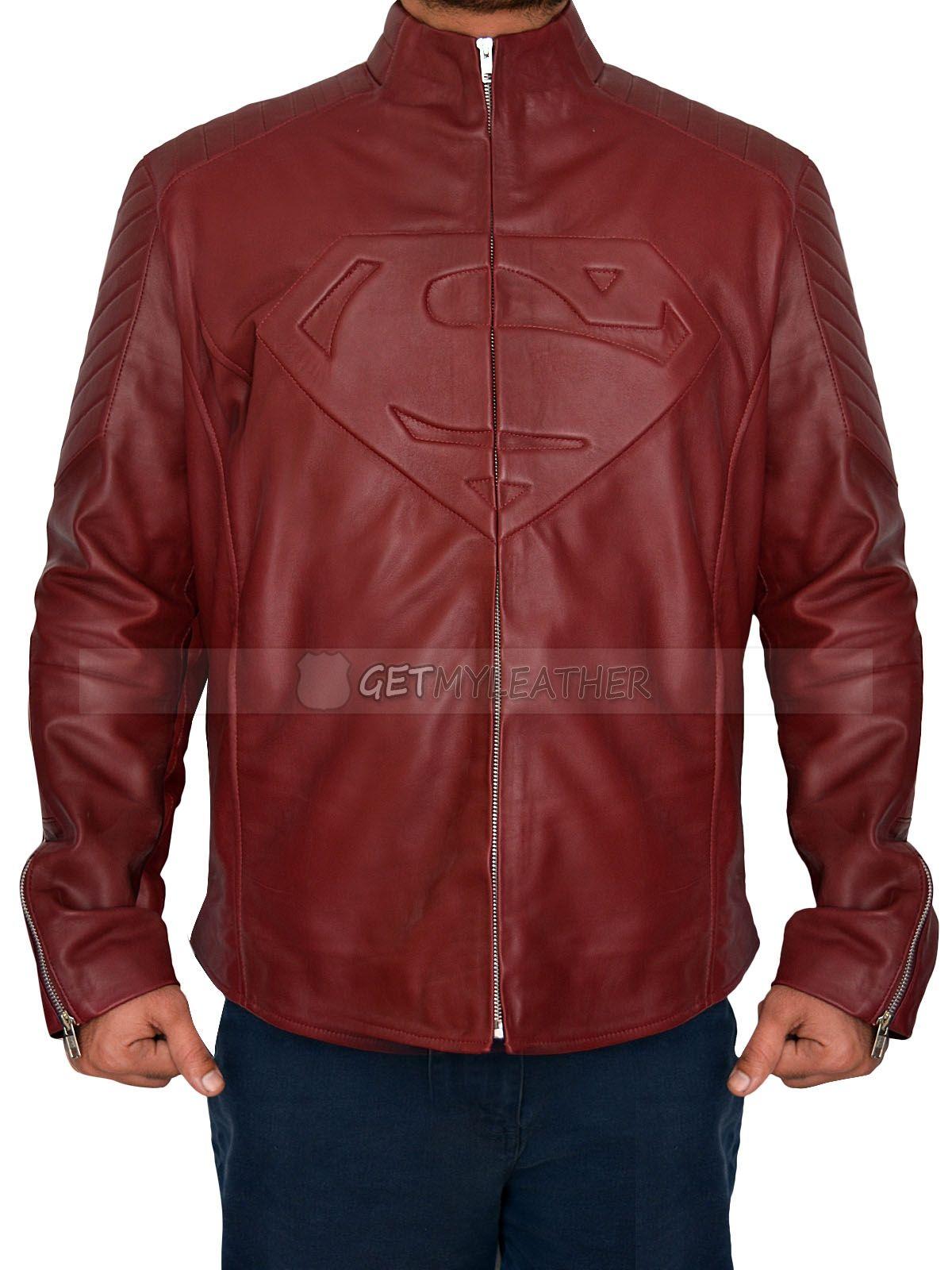 Maroon Leather Superman Smallville Jacket Jackets