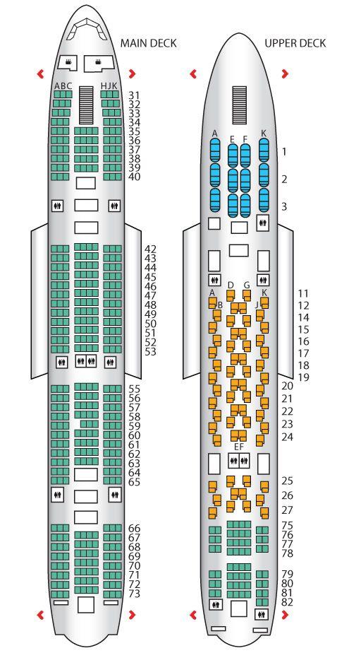 Seat Plan For The Thai Airways A380 800 Airplane