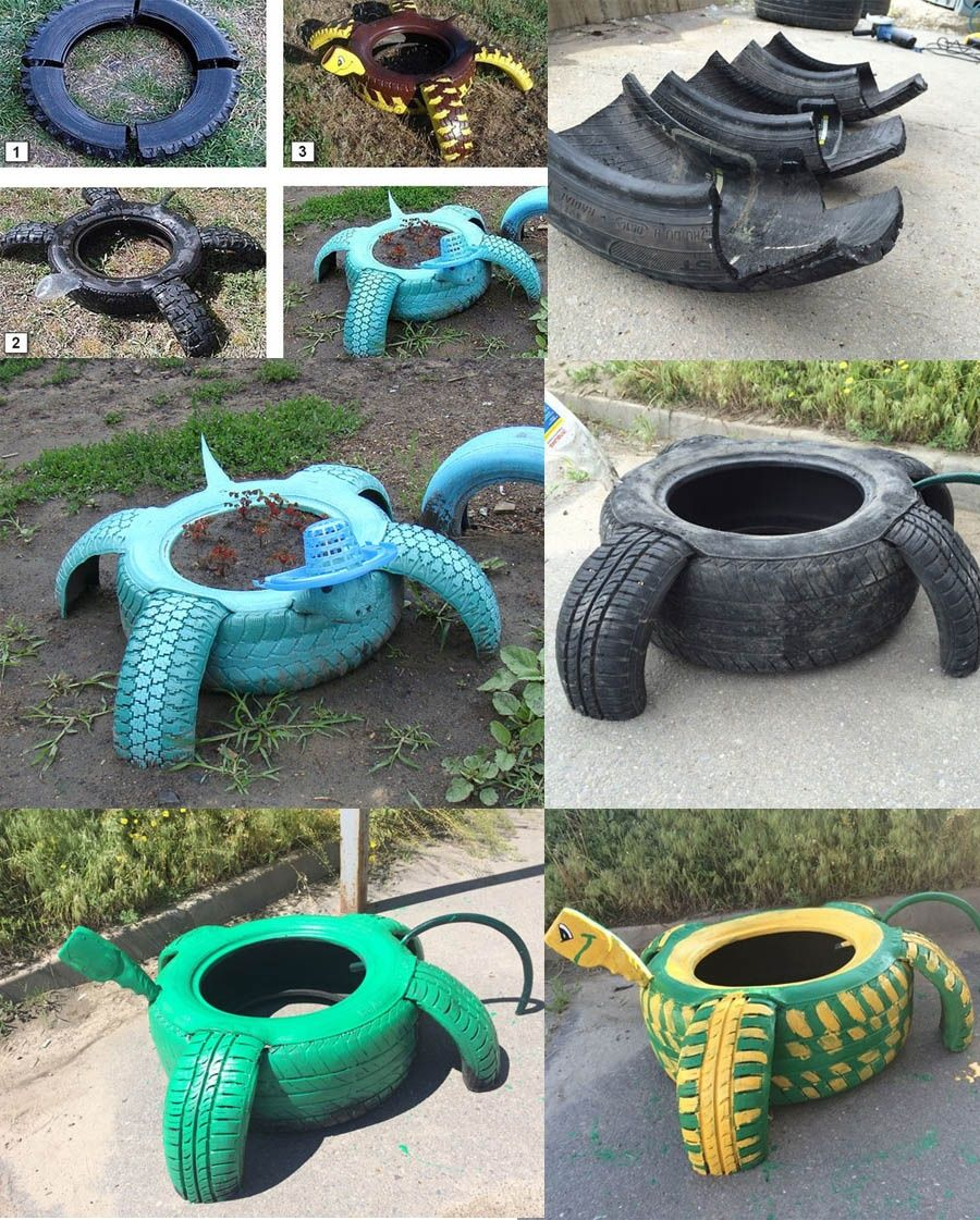 Beautiful garden decoration ideas with old tires 11 for How to use old tires in a garden