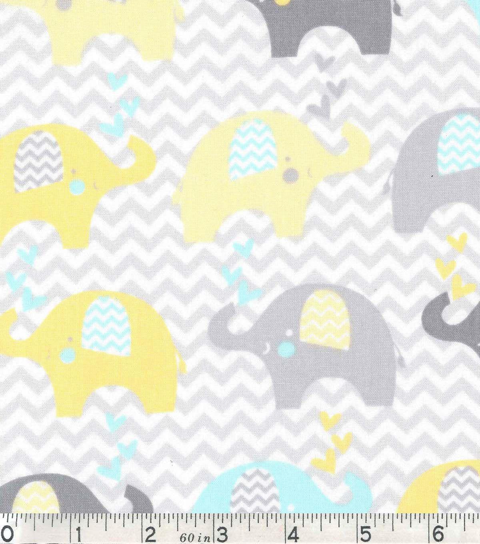 Nursery Cotton Fabric Dream Elephant Line