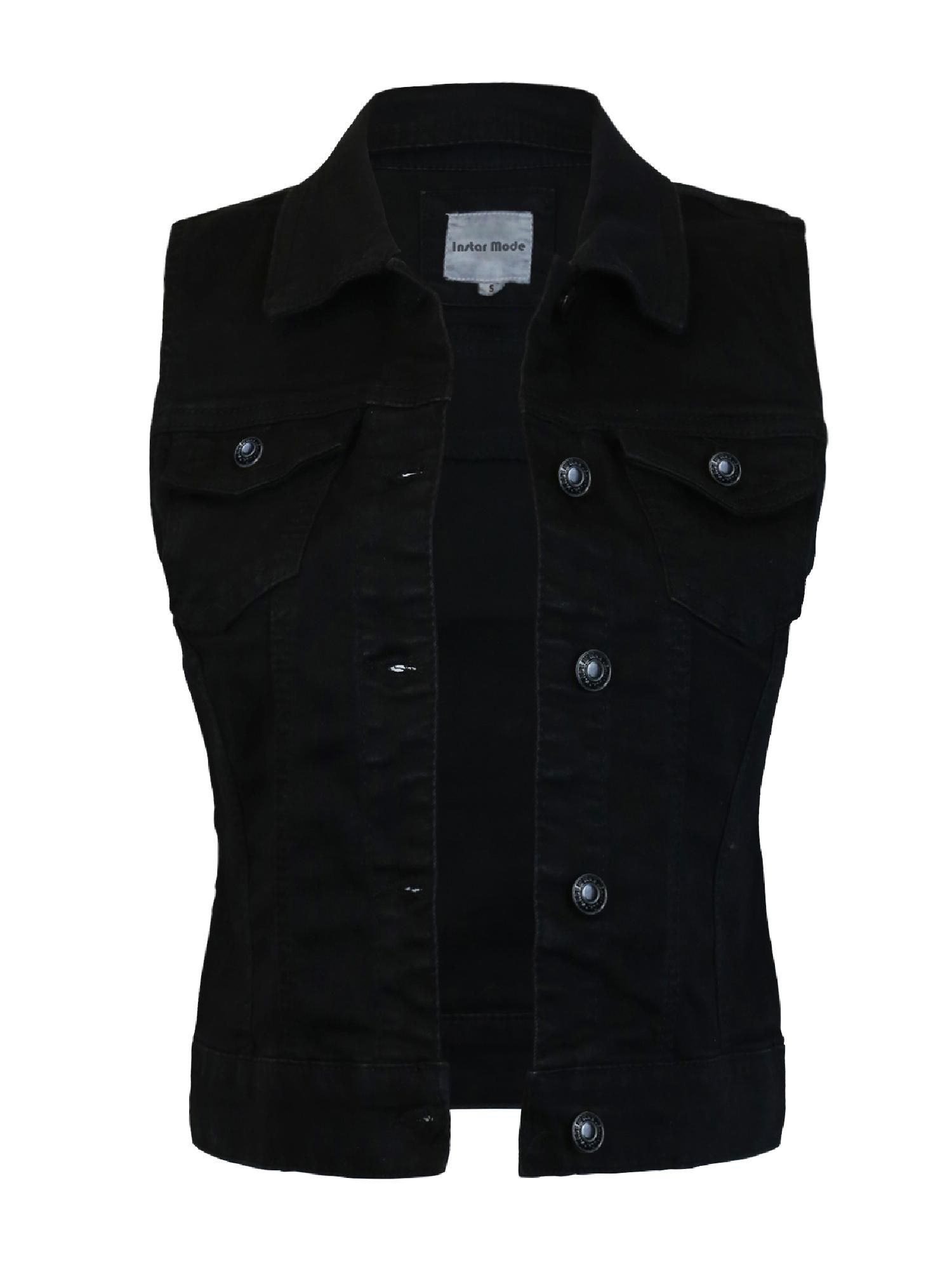 Made By Olivia Made By Olivia Women S Sleeveless Button Up Jean Denim Jacket Vest Walmart Com Black Denim Vest Jean Jacket Vest Vintage Denim Jeans [ 2000 x 1500 Pixel ]