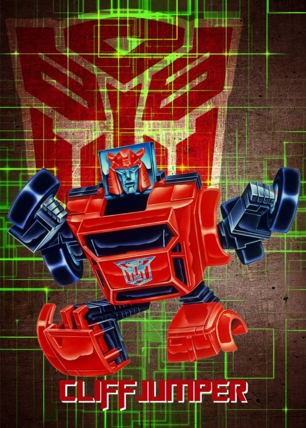 "Transformers G1 Autobots Cliffjumper #Displate artwork by artist ""Wiebes"". Part of a set featuring… 