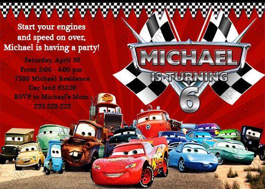 disney cars lightning mcqueen birthday by creativepartypixels, Birthday invitations