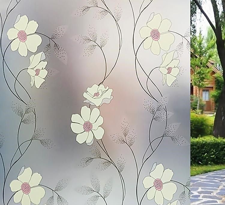 Floral Leaves Swirl Butterfly Decal Stained Glass Etch Effect Window Sticker